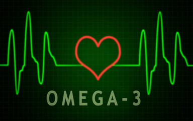 Cardiogram, pulse line with heart shape and omega-3 text