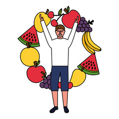 man with arms up and fruits healthy food