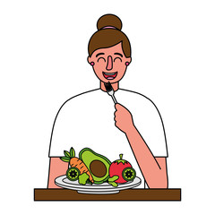 woman eating healthy food with fork