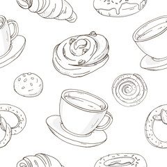Seamless pattern with delicious sweet pastries and a Cup of coffee or tea. Stylish, black and white rolls, croissants, pretzels on a white background. Vector illustration in sketch style.