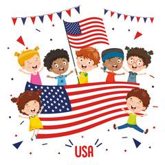 Vector Illustration Of Children Holding USA Flag