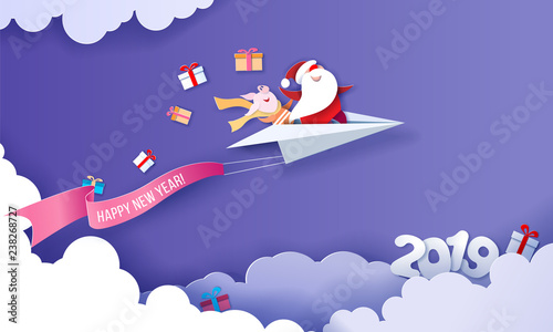 2019 New Year Sale Design Card With Santa Claus Stock Image And