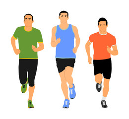 Group of marathon racers running. Sport people vector illustration. Healthy lifestyle jogging men. Traditional urban race. Runners on the street. Team building concept. Health care activity after work