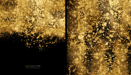 Golden flakes background concept. Scattered gold glitter powder on black