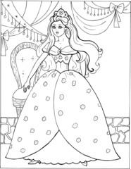Coloring book for children. Beautiful little princess 06
