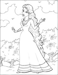 Coloring book for children. Beautiful little princess 12