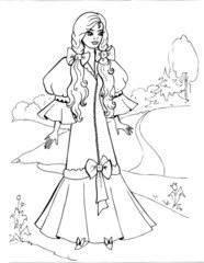 Coloring book for children. Beautiful little princess 13