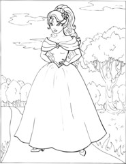 Coloring book for children. Beautiful little princess 16
