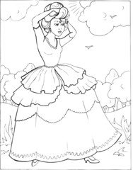 Coloring book for children. Beautiful little princess 17