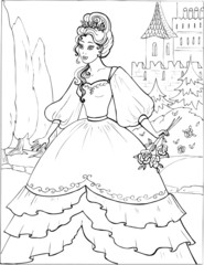 Coloring book for children. Beautiful little princess 19