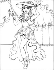 Coloring book for children. Beautiful little princess 25