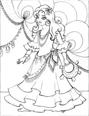 Coloring book for children. Beautiful little princess 30