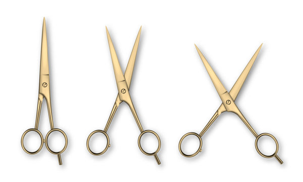 Vector 3d Realistic Gold Metal Closed and Opened Stationery Scissors Icon Set Closeup Isolated on White Background. Design Template of Classic Scissors for Graphics, Mockup. Top View