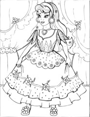 Coloring book for children. Beautiful little princess 37