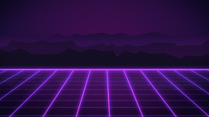 Retro neon background with 80s styled laser grid vintage arcade computer games