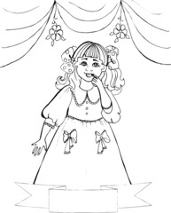 Coloring book for children. Beautiful little princess 42