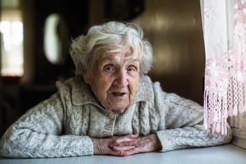Gray-haired elderly woman portrait looking at the camera.