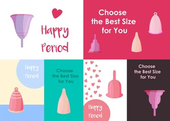Banner set with menstrual cups in cartoon style