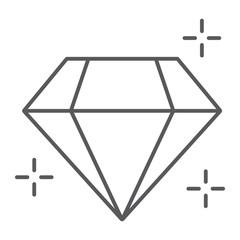 Diamond thin line icon, jewellery and accessory, brilliant sign, vector graphics, a linear pattern on a white background.