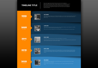 Timeline Infographic Layout with Stacked Info Boxes