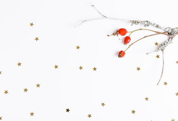 Red rosehip berries on a white background and golden stars. Christmas, new year, winter concept. Flat lay, top view, copy space