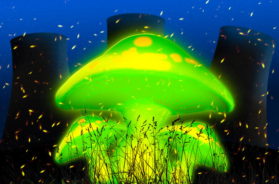 Green psychedelic mushrooms