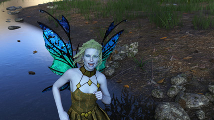 3d illustration of a beautiful green haired winged fairy with pale blue skin wearing a dress dancing in a forest next to a stream.