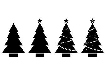 Set Christmas tree. Black and white silhouette. Vector illustration