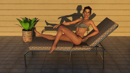 3d illustration of a woman getting up from a lounge chair on a tiled deck as the sun goes down in the late afternoon as the sun goes down.
