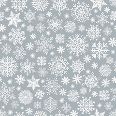 Christmas seamless pattern with cute snowflake
