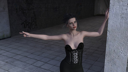 3d illustration of a woman in a black outfit standing at the entrance of a tunnel with one arm raised.