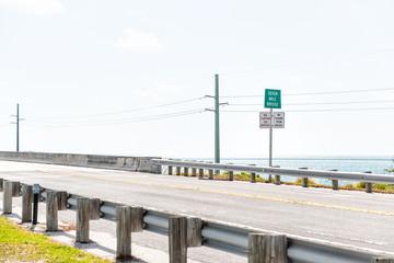Florida Keys, overseas highway road, seven mile bridge in Atlantic Ocean, gulf of Mexico, horizon, nobody