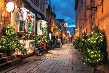 Christmas Decoration at Rue du Petit-Champlain in Lower Old Town (Basse-Ville) at night - Quebec City, Canada