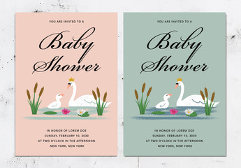 Baby Shower Invitation Layout with Swan Illustration