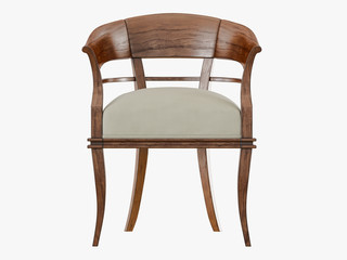 Chair with wooden armrests front view 3D rendering