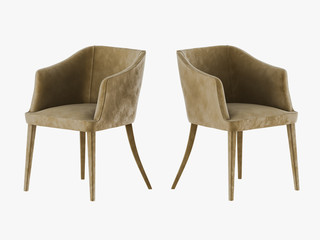 Two chair material velveteen 3d rendering