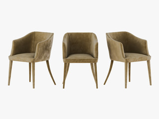 Three chair material velveteen 3d rendering