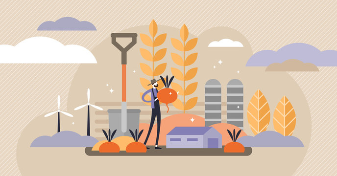 Agriculture vector illustration. Mini persons concept with harvest crops.