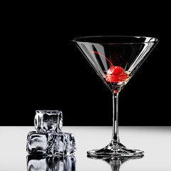 Cherry in a martini glass with ice. 3D rendering