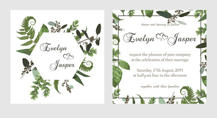 set for wedding invitation, greeting card, save date, banner. Vintage square, round frame with green fern leaf, boxwo od and eucalyptus sprigs isolated on white background