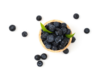 blueberries on bow isolated on white background