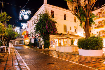 Christmas decoration. Streets of Marbella decorated for Christmas. Marbella, Andalusia, Spain. Picture taken – 9 december 2018.