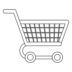 Shopping cart symbol in black and white