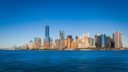 South-East view of the cityscape of Lower Manhattan, New York City, USA