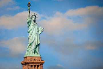 The Statue of Liberty against blue sky, New York City, USA