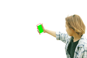 Woman taking self picture, Space for copy.