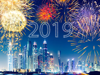 celebrating new year 2019 in dubai, modern concept, skyscraper and firewors, travel concept