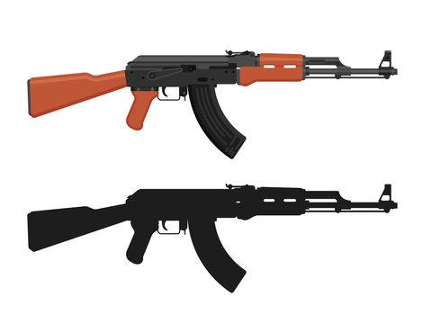 AK 47 Kalashnikov machine gun isolated on white. Flat design. Military automatic rifle silhouette. Vector illustration