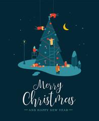 Christmas card of people making pine tree at night