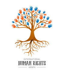 International Human Rights people hands tree